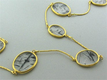 thumbnail image of New Gurhan 24K Gold 113.05ct Rutilated Quartz Necklace