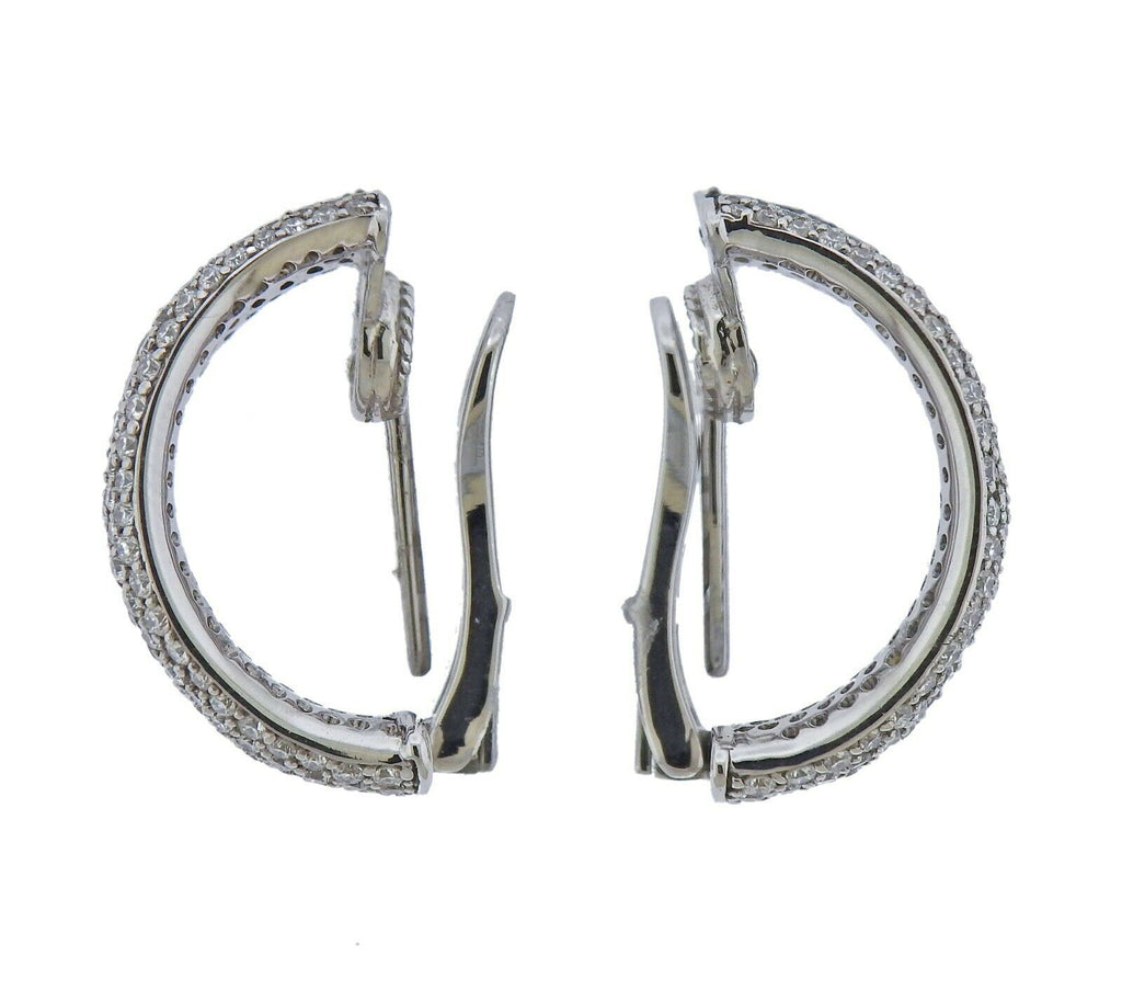 thumbnail image of Roberto Coin Scalare Gold 2.60ctw Diamond Hoop Earrings