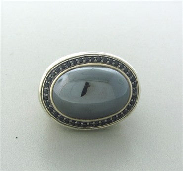 image of John Hardy Batu Sterling Silver Black Sapphire Hematite Large Ring