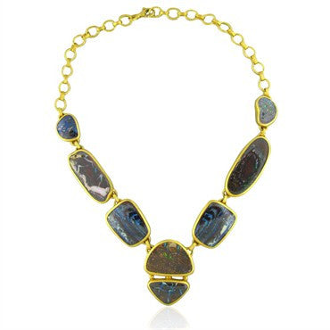 image of New Gurhan Quilpie 24K Gold 175ct Boulder Opal Necklace