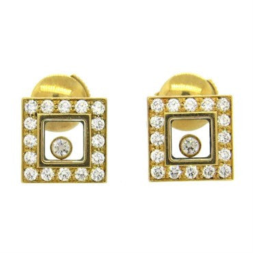 thumbnail image of Chopard Happy Floating Diamonds Gold Square Stud Earrings