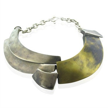 thumbnail image of Robert Lee Morris Mixed Metal Silver Impressive Free Form Necklace