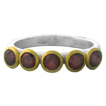 thumbnail image of New Gurhan 24K Gold Sterling Silver Red Tourmaline Skittle Ring