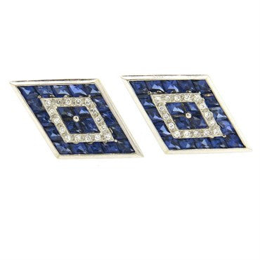 image of Large Lucien Piccard Sapphire Diamond 14k Gold Cufflinks