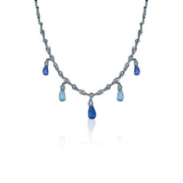thumbnail image of Gregg Ruth 18K Gold Diamond Blue Gemstone Necklace