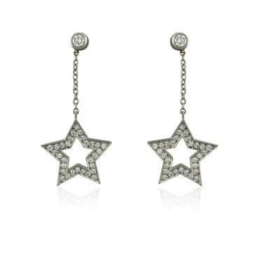 image of Tiffany & Co Stars Collection Platinum Diamond Drop Earrings