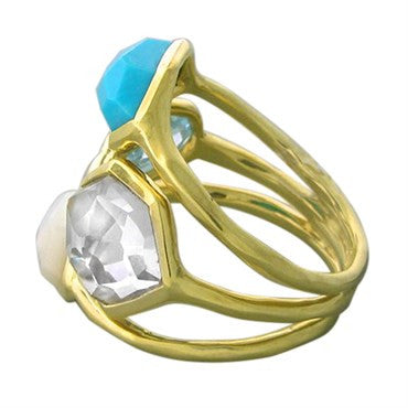 thumbnail image of New Ippolita 18K Gold Ocean Combo Gemstone Cluster Ring