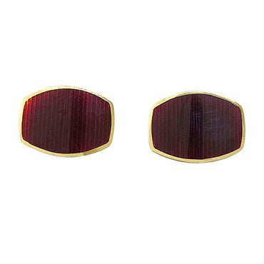 image of New Victor Mayer Faberge Maker 18k Gold Red Enamel Cufflinks