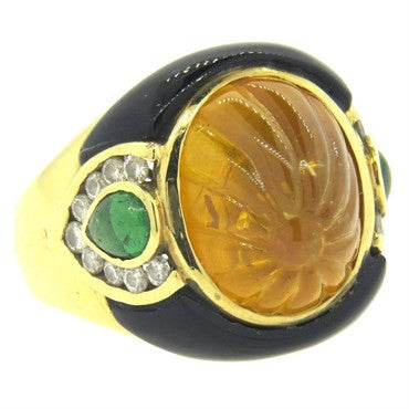 image of 1980s Carved Citrine Onyx Emerald Diamond 18k Gold Ring
