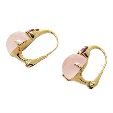 thumbnail image of New Pomellato Luna 18k Gold Rose Quartz Tourmaline Earrings