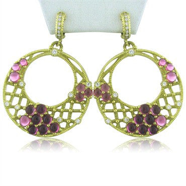 thumbnail image of Judith Ripka 18k Gold Diamond Pink Tourmaline Earrings