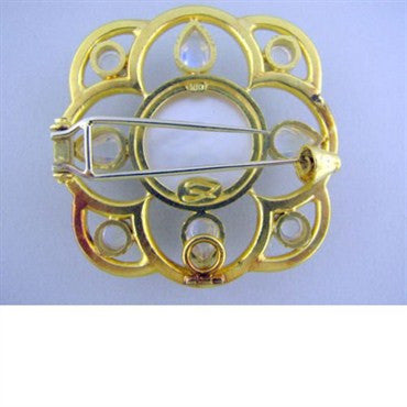 image of Elizabeth Locke 18k Gold Mop Moonstone Brooch Pendant