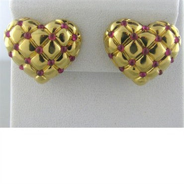 image of Estate Gumuchian 18k Gold Ruby Heart Earrings