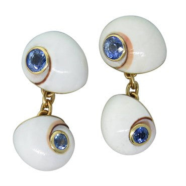 thumbnail image of Trianon Iolite 18k Gold Shell Cufflinks