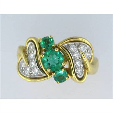 thumbnail image of Tiffany & Co 18k Gold Platinum Emerald Diamond Ring