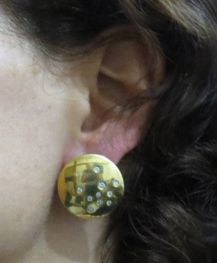 thumbnail image of Thomas Michaels Diamond 18k Gold Round Disk Earrings