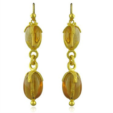 image of New Gurhan Star 24K Gold Golden Citrine Drop Earrings
