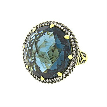 thumbnail image of Judith Ripka 18k Gold London Blue Spinel Diamond Ring