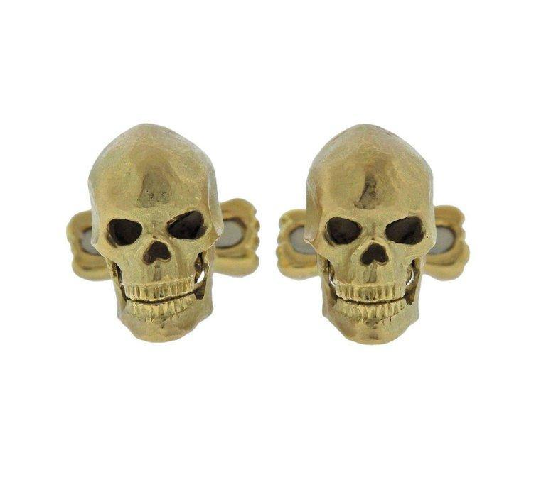 thumbnail image of Deakin & Francis Diamond Gold Skull Cufflinks