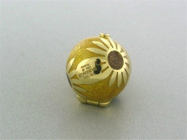 thumbnail image of Faberge Four Season 18K Gold Diamond Sunflower Locket Pendant
