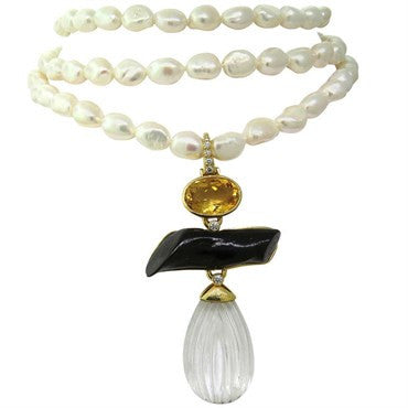 image of Andrew Clunn Rock Crystal Diamond Citrine Coral Gold Pearl Necklace