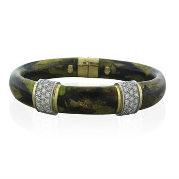 thumbnail image of Estate Soho 18K Gold Enamel Diamond Bangle Bracelet