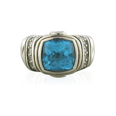 image of Scott Kay Sterling Silver Blue Topaz Diamond Ring