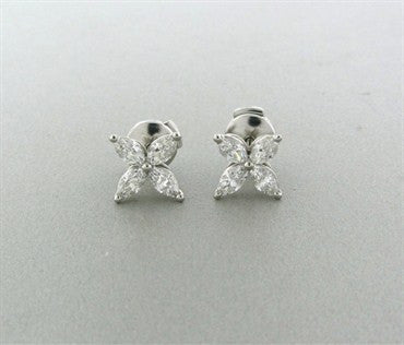 thumbnail image of Tiffany & Co Victoria Collection Platinum 1.28ctw Diamond Earrings