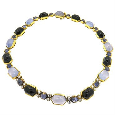 image of Fine 18k Gold Onyx Iolite Chalcedony 2.00ctw Diamond Necklace