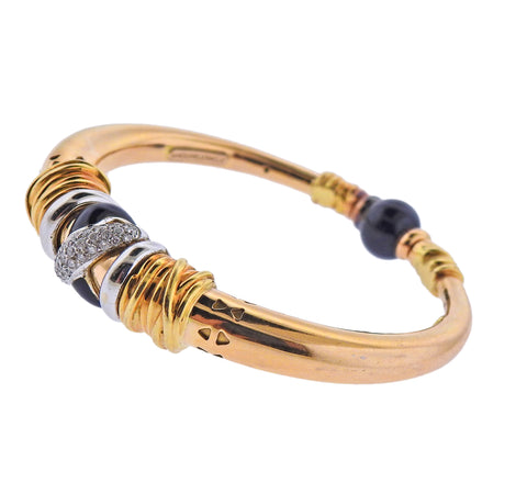 image of La Nouvelle Bague Gold Diamond Enamel Bracelet