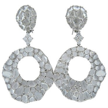 image of Large Modern White Sapphire Diamond Gold Drop Earrings
