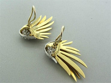 thumbnail image of Tiffany & Co Schlumberger 18K Gold Platinum Diamond Flame Earrings