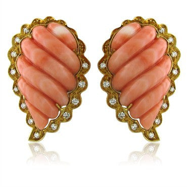 thumbnail image of 1960s Vintage Spitzer & Furman 18K Gold Carved Coral Diamond Earrings