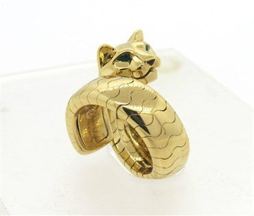 thumbnail image of Cartier Panthere Onyx Emerald 18k Gold Ring