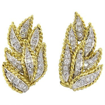 image of 1970s Hammerman Brothers Diamond Gold Leaf Motif Earrings