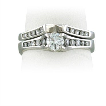 image of Certified Hearts On Fire 0.26ct Diamond Engagement Wedding Ring Set