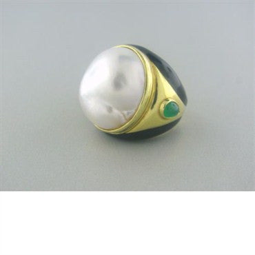 thumbnail image of Tambetti 18k Gold Mabe Pearl Emerald Black Enamel Ring