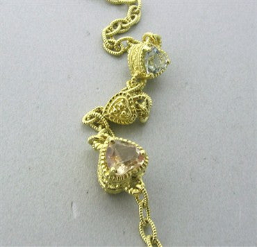 thumbnail image of Judith Ripka 18K Gold Diamond Crystal Heart Motif Necklace 64.8g