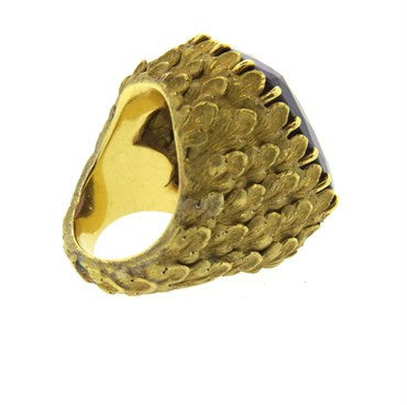 thumbnail image of Impressive 1960s Amethyst Hand Engraved Gold Large Ring