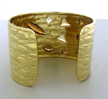 thumbnail image of Estate Gucci 18K Yellow Gold Citrine Smokey Topaz Wide Cuff Bracelet