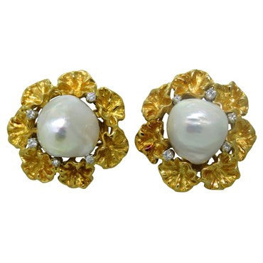 image of Spritzer & Fuhrmann 18k Gold Diamond Baroque South SeaPearl Earrings