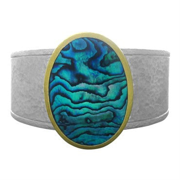 image of New Gurhan Sterling Silver 24K Yellow Gold Paua Shell Cuff Bracelet