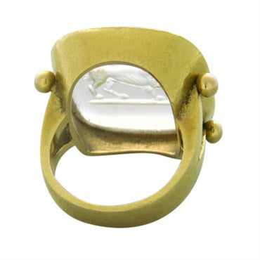 thumbnail image of Elizabeth Locke Intaglio Crystal Gold Large Ring