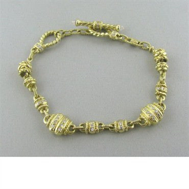 thumbnail image of Judith Ripka 18k Gold Diamond Toggle Bracelet