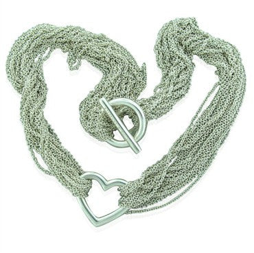 image of Estate Tiffany & Co Heart Sterling Silver Multi Chain Necklace