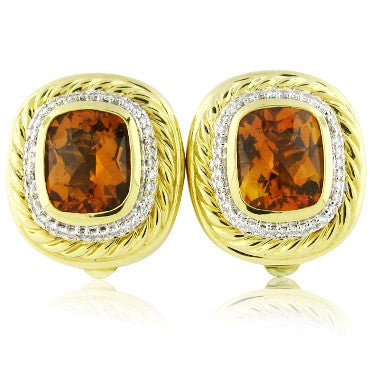 thumbnail image of Estate David Yurman 18K Gold Citrine Diamond Earrings