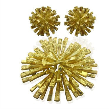 image of Funky 1970s Vintage Tiffany 18K Gold Brooch Pendant Earrings Set