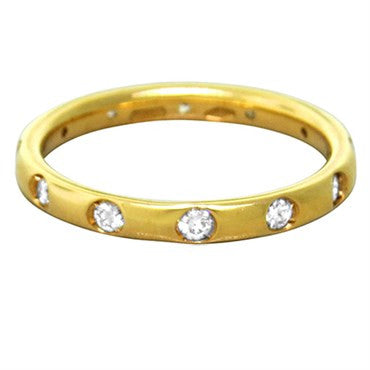 image of New Pomellato Lucciole 18k Gold Yellow Gold Diamond Band Ring Size 50