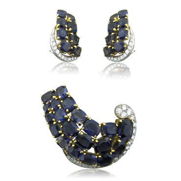 image of Seaman Schepps 18K Gold Iolite Diamond Brooch Pin Earrings Set