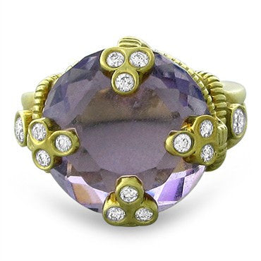 image of Judith Ripka 18K Yellow Gold Diamond Amethyst Ring